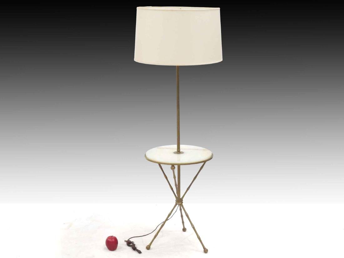 MID-CENTURY BRASS/ONYX FLOOR LAMP WITH MEDIAN SHELF.
