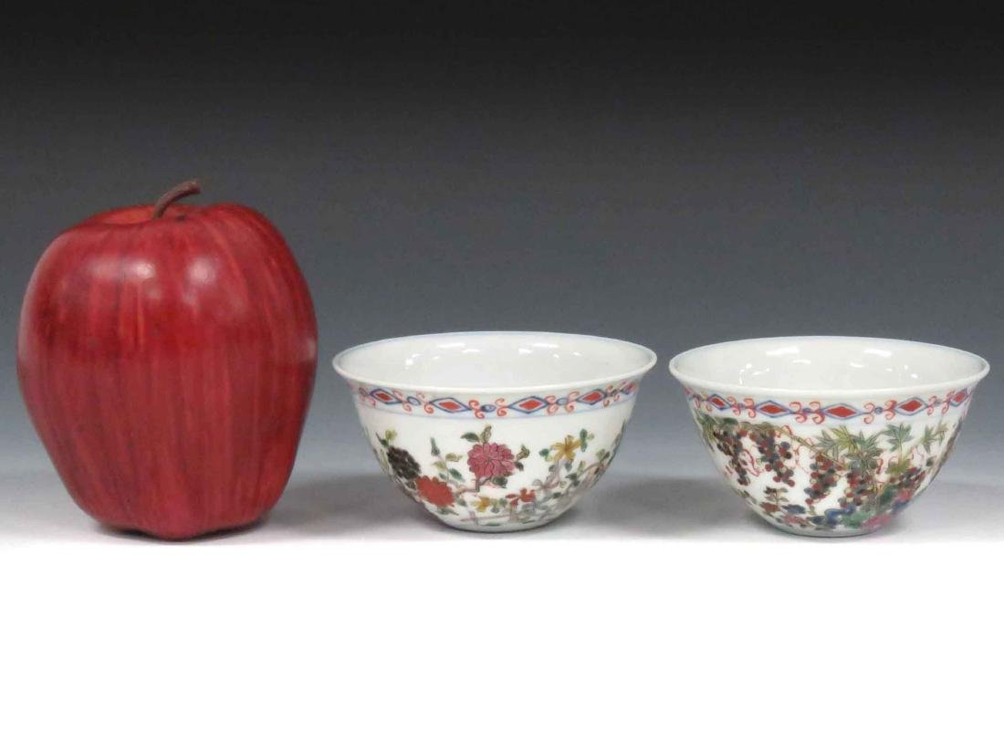PAIR CHINESE ENAMEL DECORATED PORCELAIN CUPS WITH