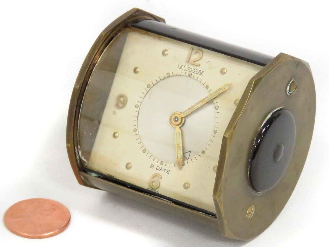 VINTAGE LE COULTRE BRASS 8-DAY TRAVEL ALARM CLOCK.