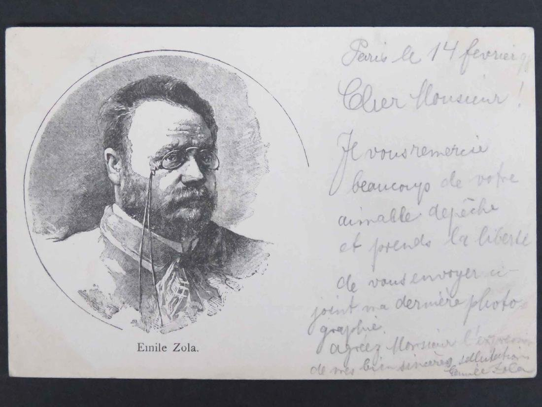 EMILE ZOLA (FRENCH NOVELIST 1840-1902) PENCIL INSCRIBED