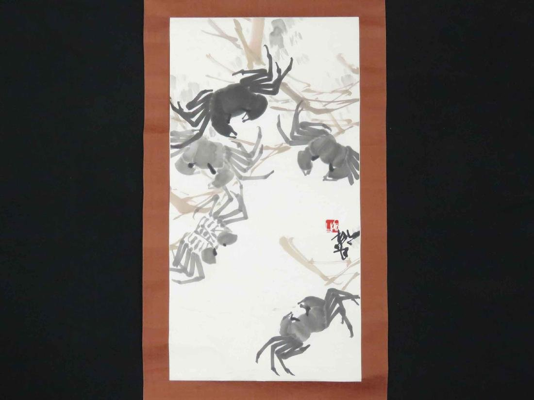 CHINESE INK AND WATERCOLOR SCROLL PAINTING, CRABS,