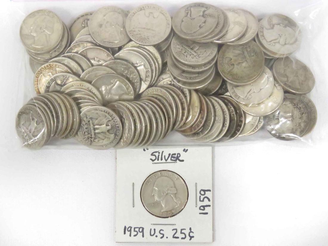 LOT (105) ASSORTED WASHINGTON SILVER QUARTER COINS