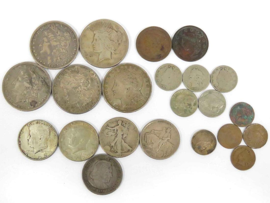 LOT (22) ASSORTED US COINS INCLUDING (5) MORGAN/PEACE