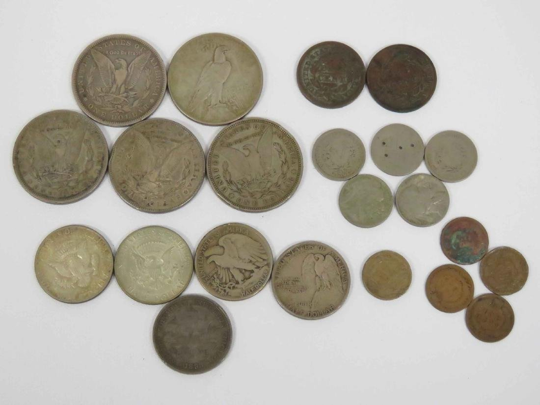 LOT (22) ASSORTED US COINS INCLUDING (5) MORGAN/PEACE - 2