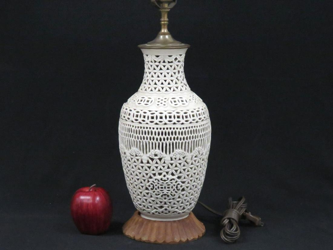 CHINESE BLANC DE CHINE RETICULATED PORCELAIN VASE,
