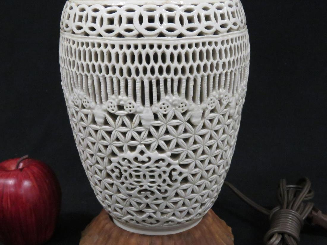 CHINESE BLANC DE CHINE RETICULATED PORCELAIN VASE, - 2
