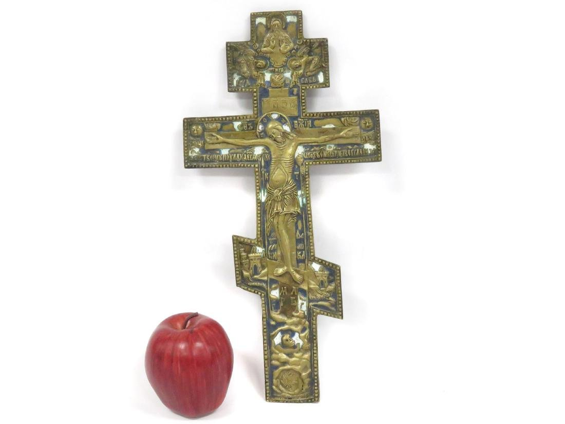 RUSSIAN BRONZE AND ENAMEL CROSS, 19TH CENTURY. HEIGHT