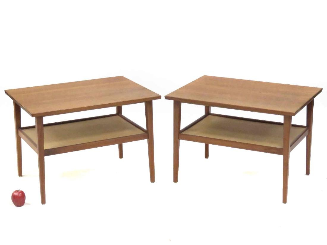PAIR DANISH MID-CENTURY MODERN WALNUT/TEAK LAMP TABLES.
