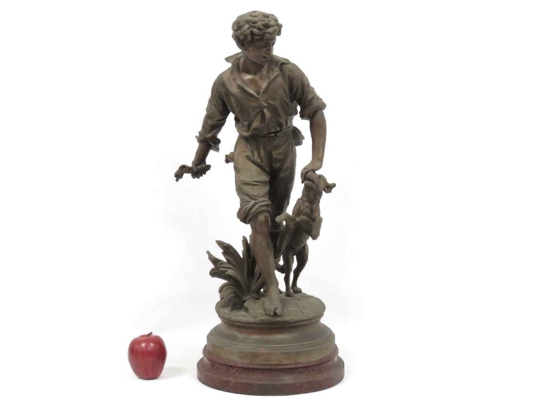 """FRENCH PATINATED SPELTER FIGURE, """"APPORTE"""". HEIGHT 28"""""""