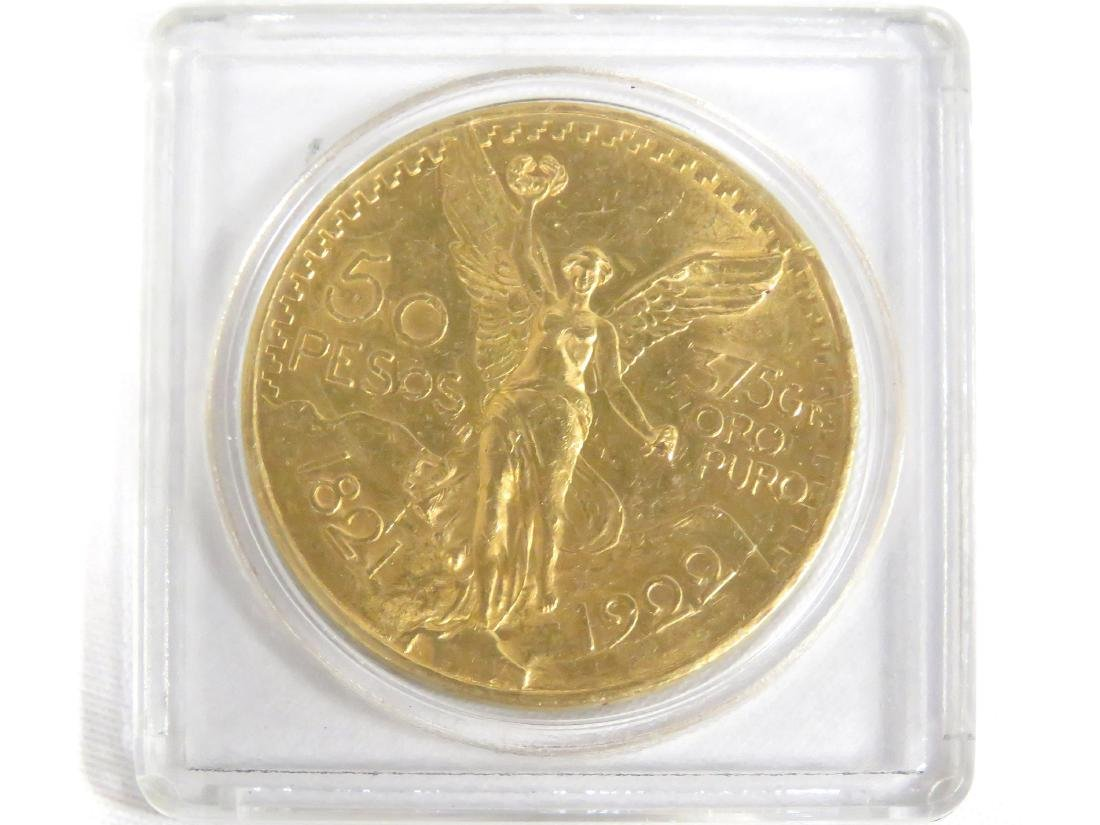 1922 MEXICO GOLD 50 PESO COIN