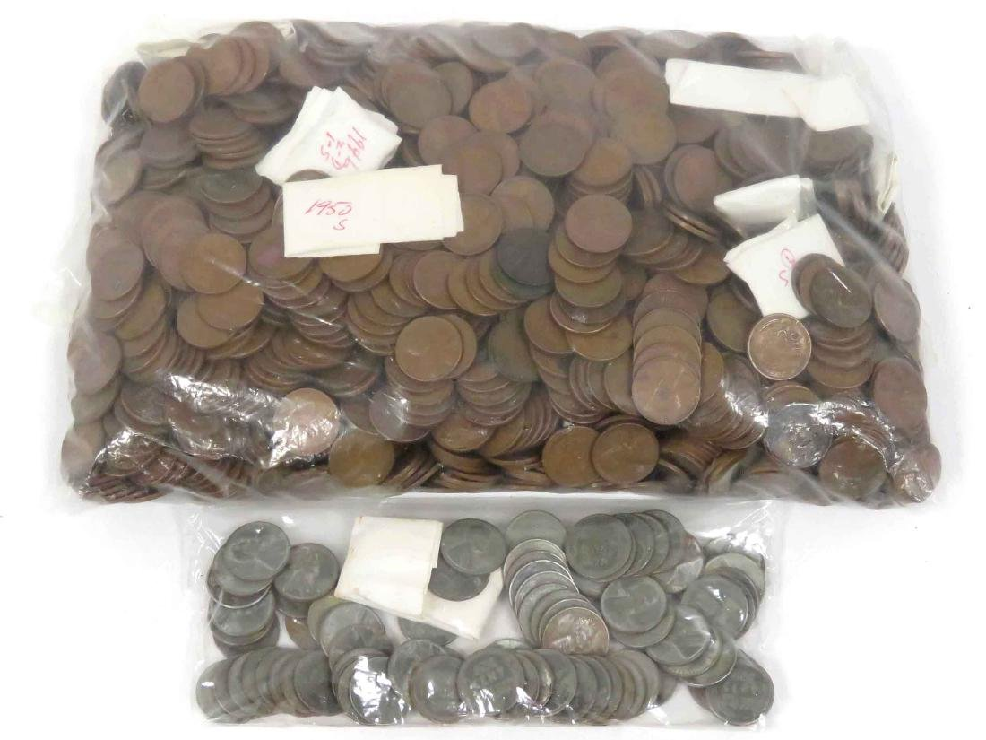 LARGE LOT ASSORTED WHEAT PENNIES, 1912-1958
