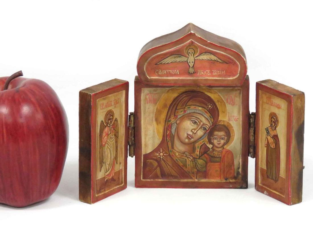 RUSSIAN TRIPTYCH TRAVELING ICON, MOTHER OF GOD, 20TH
