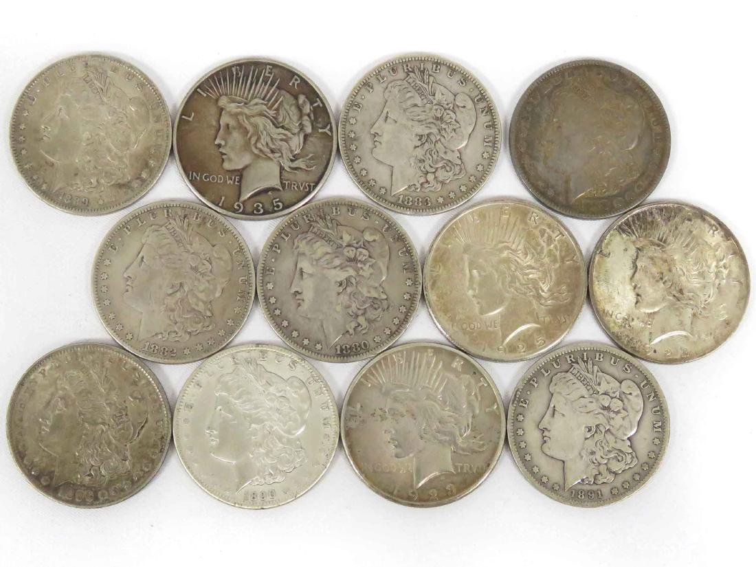 LOT (12) ASSORTED MORGAN AND PEACE SILVER DOLLAR COINS