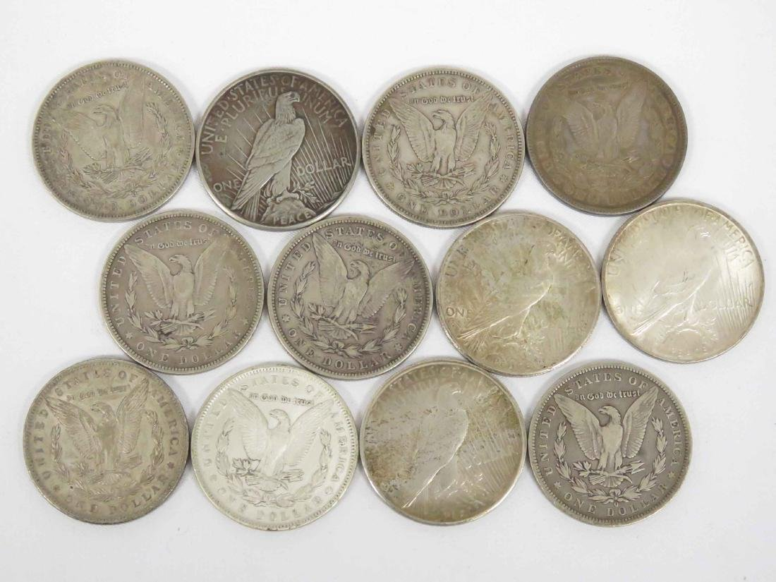 LOT (12) ASSORTED MORGAN AND PEACE SILVER DOLLAR COINS - 2