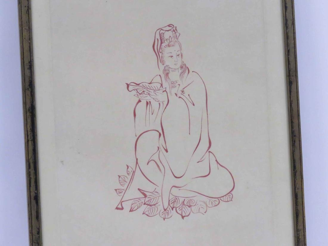 CHINESE SCROLL PAINTING, RED INK ON PAPER, KUAN YIN, - 2