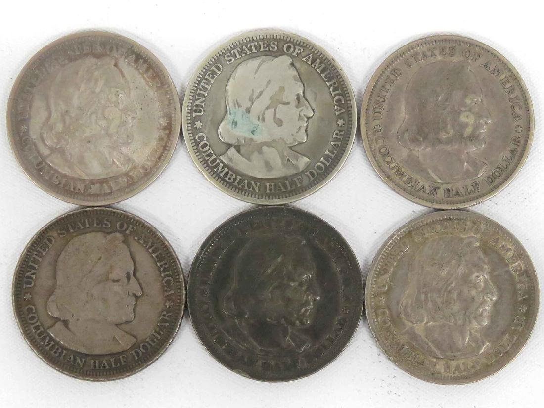LOT (6) 1893 COLUMBIAN SILVER HALF DOLLAR COINS