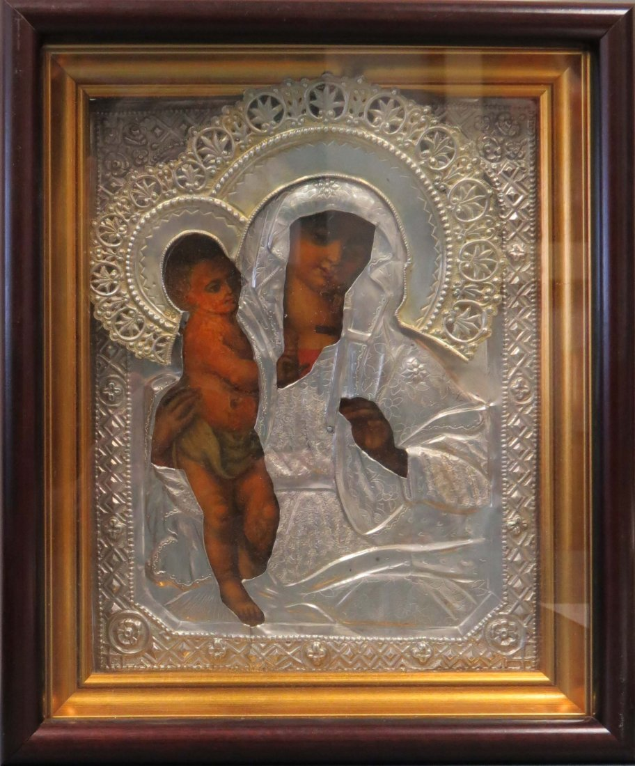 RUSSIAN ICON ON WOOD PANEL, MOTHER OF GOD WITH SILVER