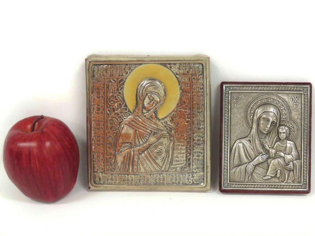 LOT (2) RUSSIAN SILVERED ICONS, MOTHER OF GOD, 20TH