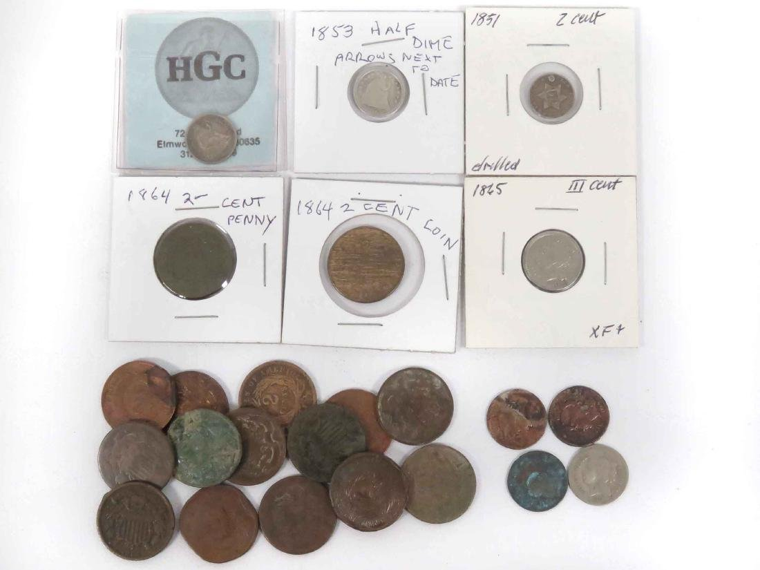 LOT (23) INCLUDING 1851 3-CENT (DRILLED), 1853 HALF
