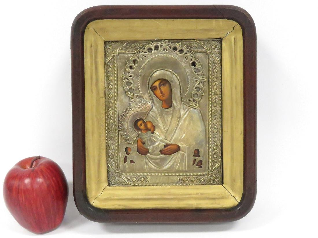 RUSSIAN ICON ON WOOD PANEL, MOTHER OF GOD NURSING WITH