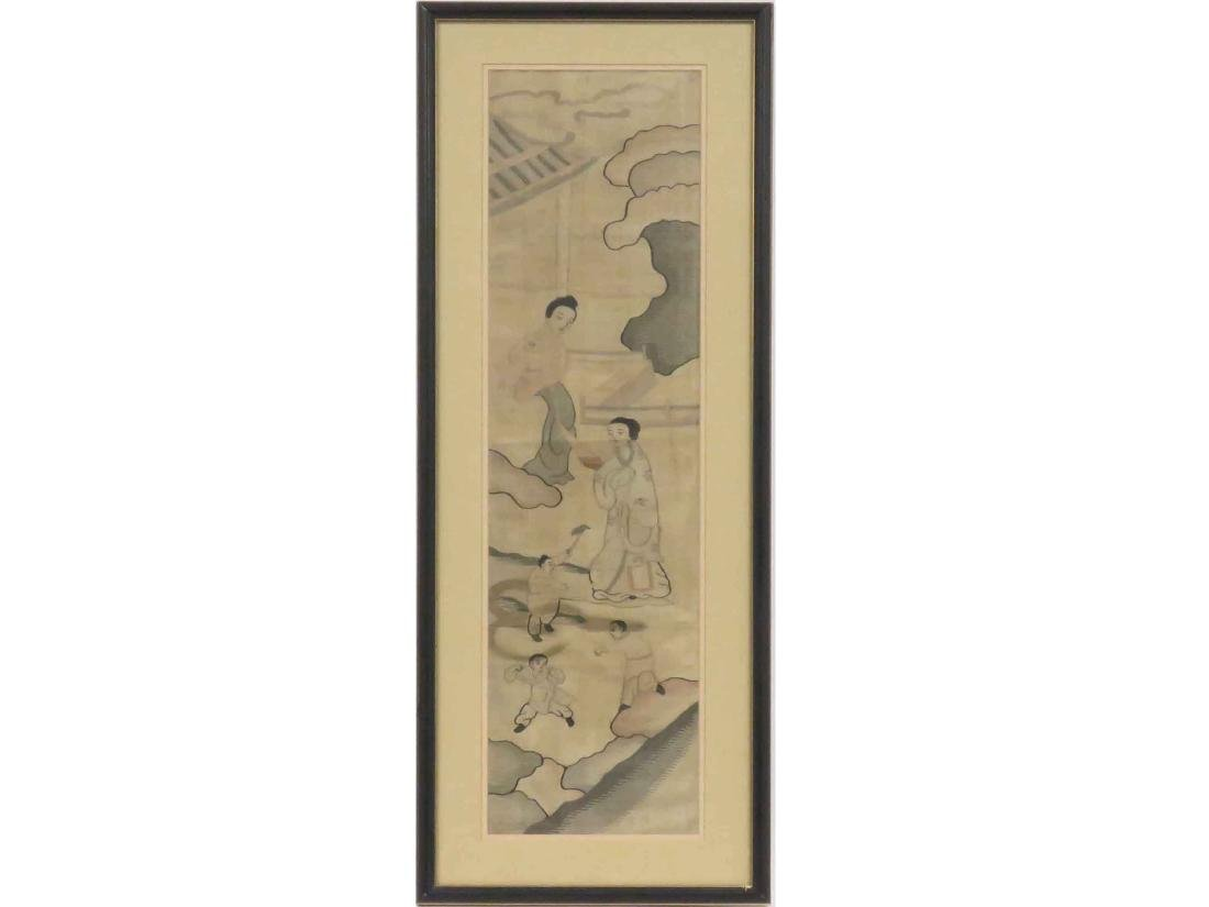 "CHINESE KESI EMBROIDERED PANEL. SIGHT 37 1/2 X 9"";"