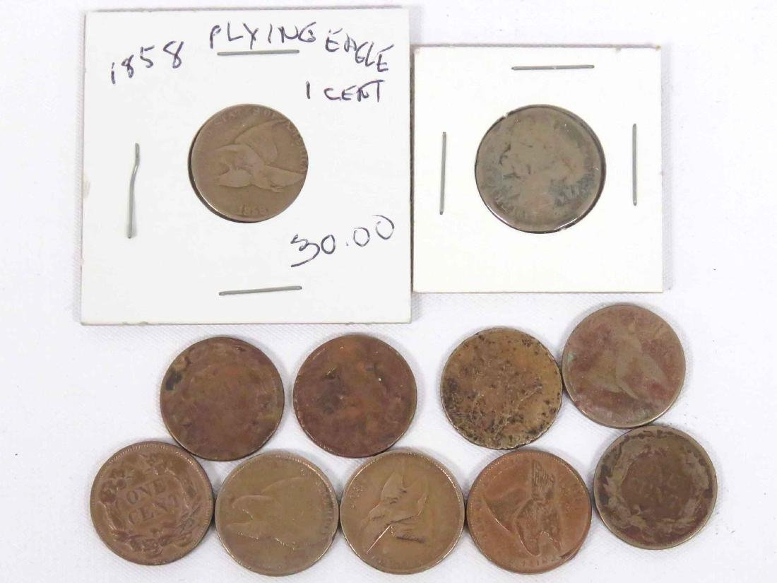 LOT (11) ASSORTED 1857/58 US FLYING EAGLE CENT COINS