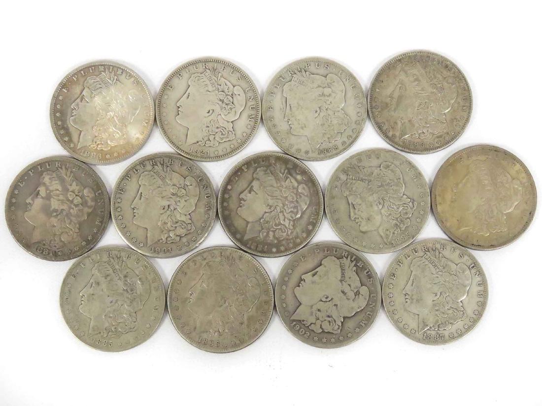 LOT (13) ASSORTED MORGAN SILVER DOLLAR COINS