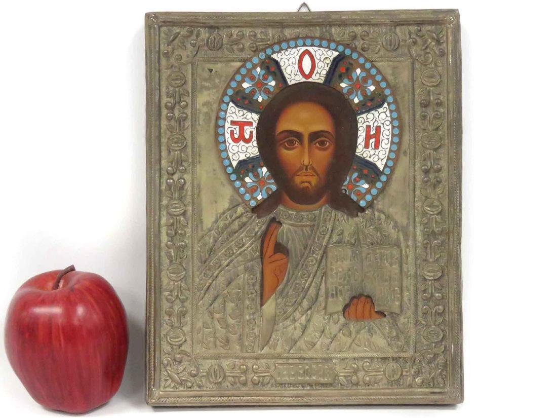 RUSSIAN ICON ON WOOD PANEL, CHRIST, WITH SILVER OKLAD,