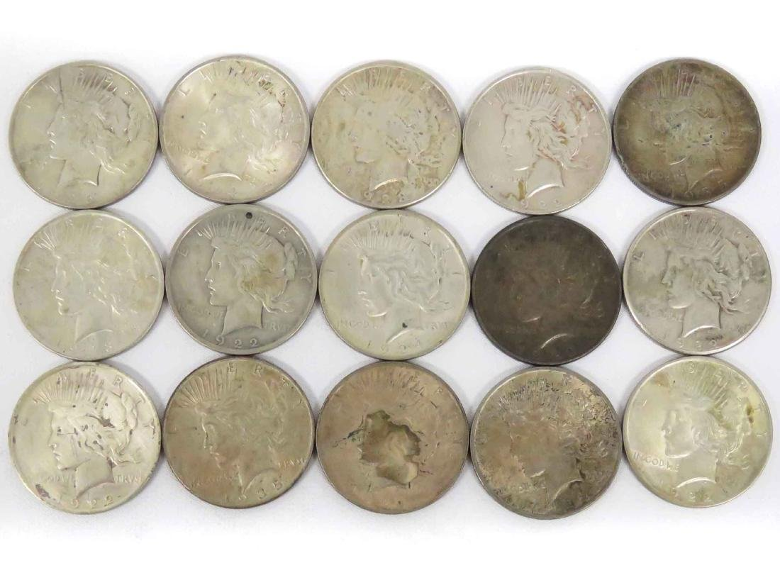 LOT (15) ASSORTED US PEACE SILVER DOLLAR COINS