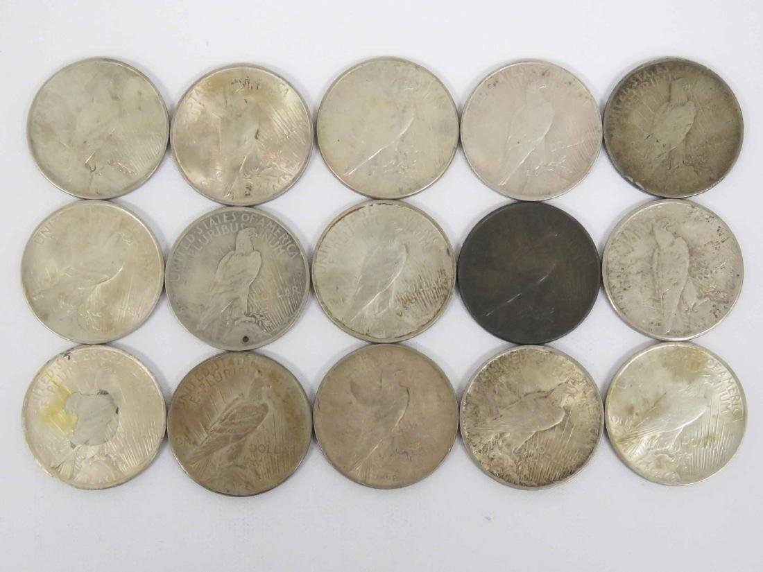 LOT (15) ASSORTED US PEACE SILVER DOLLAR COINS - 2