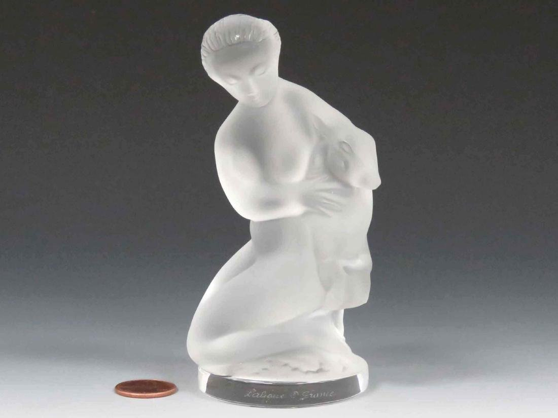 LALIQUE, FRANCE FROSTED CRYSTAL NUDE WITH FAUN, SIGNED