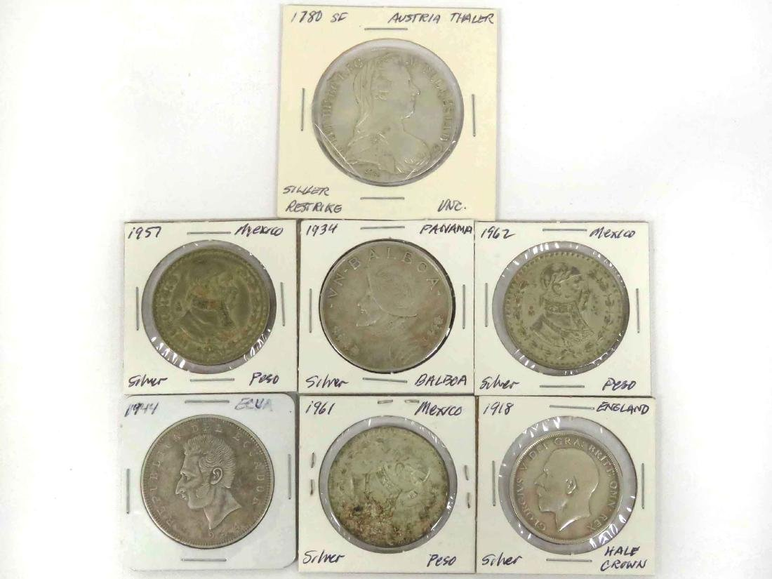 LOT (7) ASSORTED FOREIGN SILVER COINS INCLUDING 1780