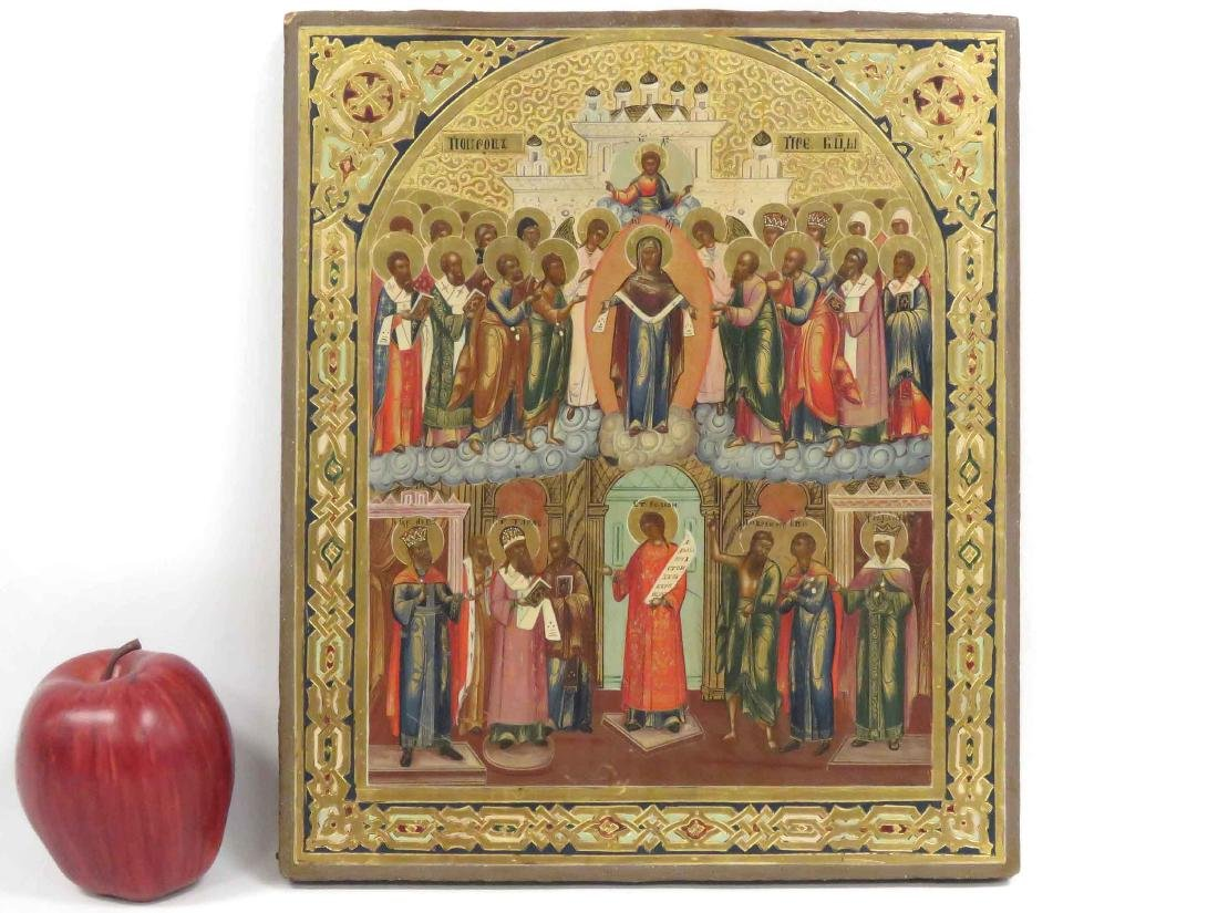 RUSSIAN ICON ON WOOD PANEL, MANY SAINTS, 19TH CENTURY.