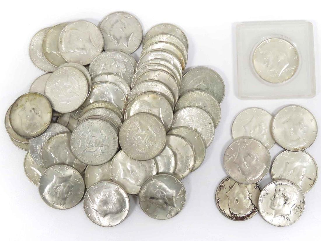 LOT (56) ASSORTED KENNEDY SILVER HALF DOLLAR COINS