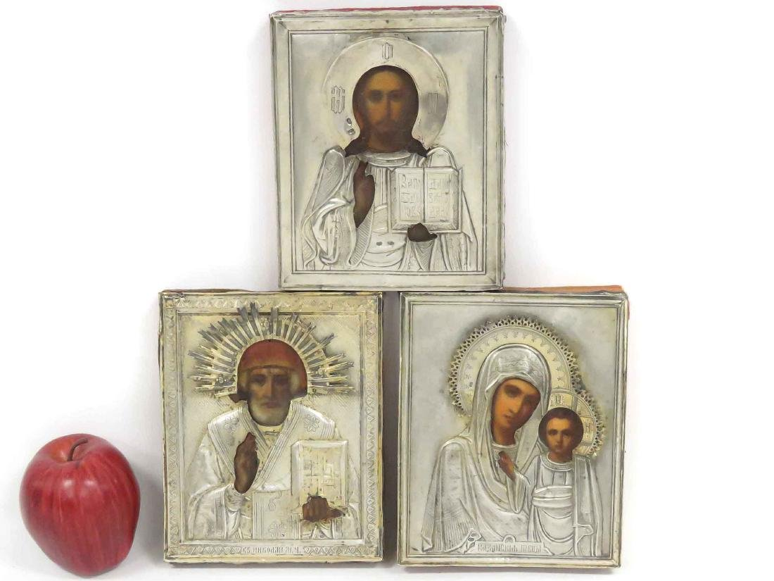 LOT (3) RUSSIAN ICONS INCLUDING MOTHER OF GOD, CHRIST
