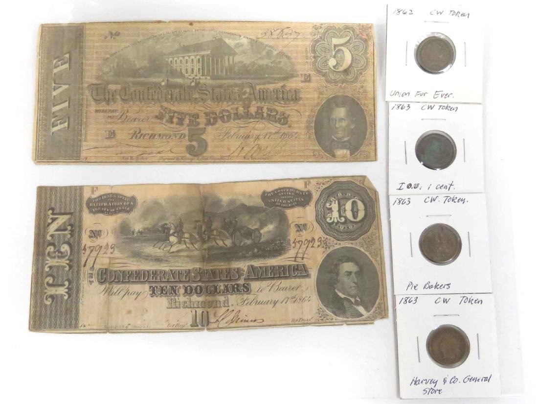 LOT (6) INCLUDING (4) CIVIL WAR TOKENS, 1862/63; (2)