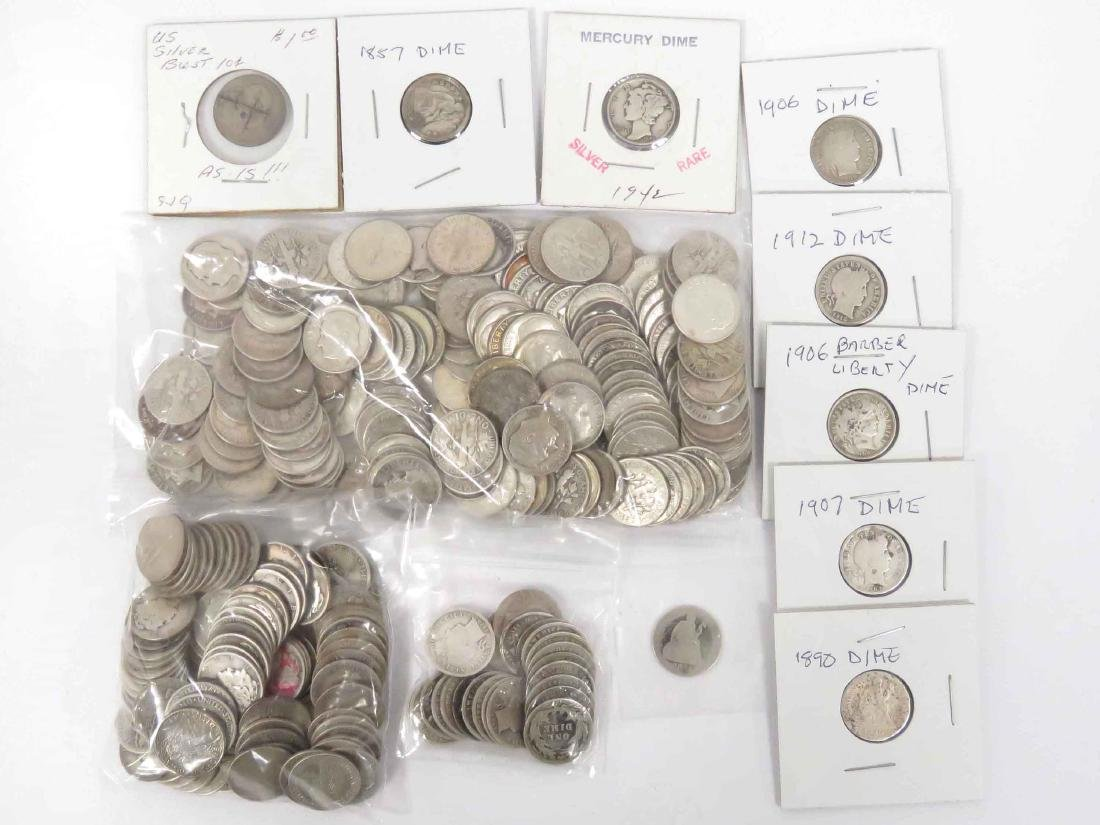 LOT (288) ASSORTED US SILVER DIME COINS INCLUDING (1)