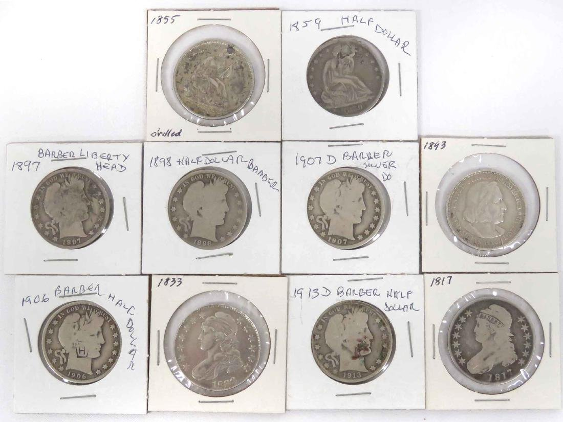LOT (10) ASSORTED US SILVER HALF DOLLAR COINS INCLUDING