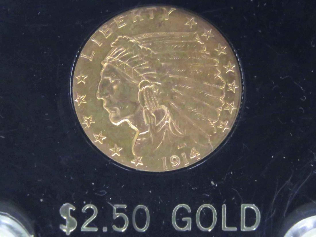 1914 QUARTER EAGLE $2.50 GOLD INDIAN COIN (AU)