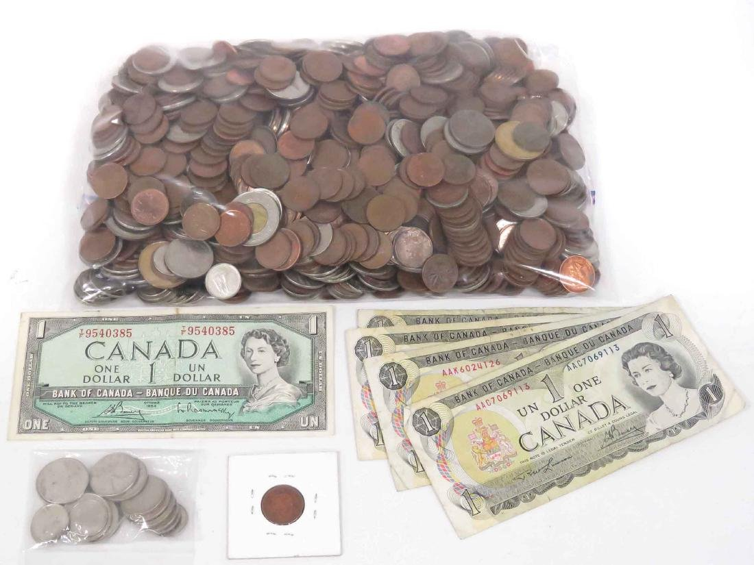 LOT ASSORTED CANADIAN COINS (INCLUDING SILVER), 19-20TH