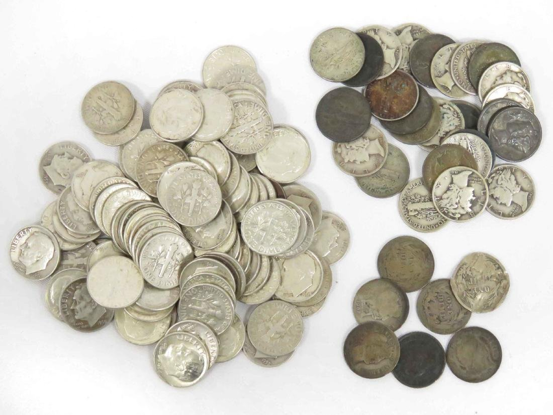LOT (124) ASSORTED US SILVER DIME COINS INCLUDING (7)