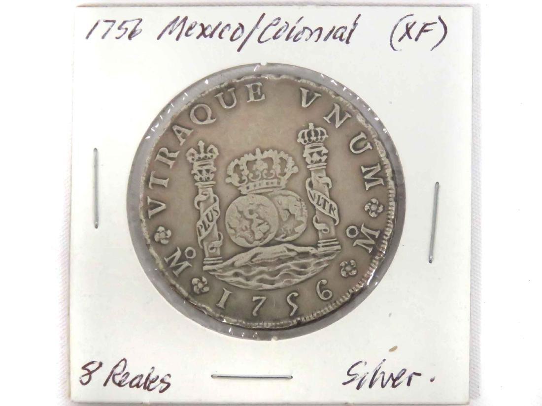 1756 MO MM MEXICO SILVER PILLAR DOLLAR OF 8 REALES (XF)