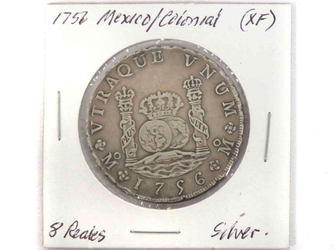 1756 MO MM MEXICO SILVER PILLAR DOLLAR OF 8 REALES (XF)