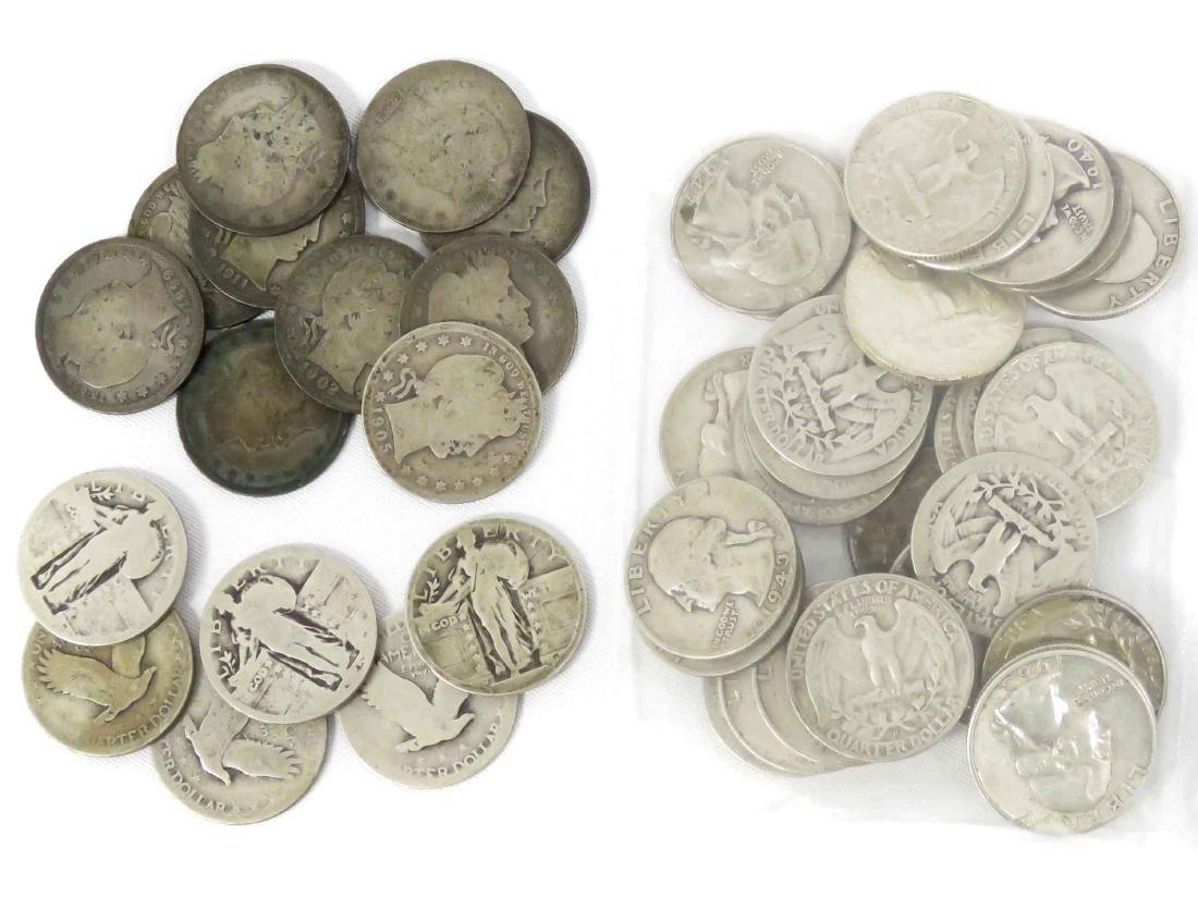 LOT (46) ASSORTED US SILVER QUARTER COINS INCLUDING