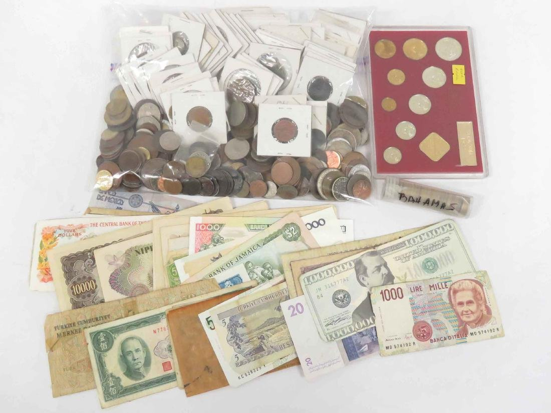 LOT ASSORTED FOREIGN COINS (INCLUDING SILVER), 18-20TH