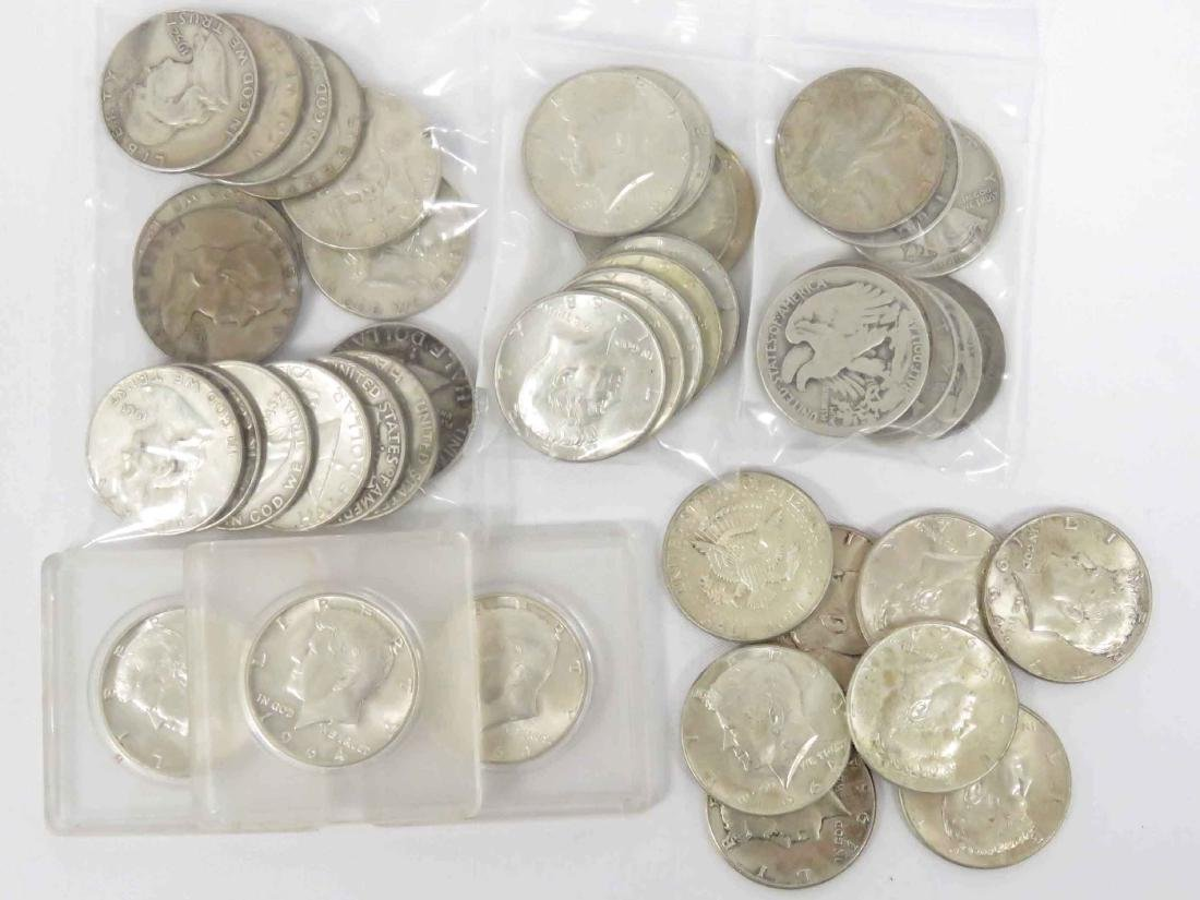 LOT (43) ASSORTED US SILVER HALF DOLLAR COINS INCLUDING