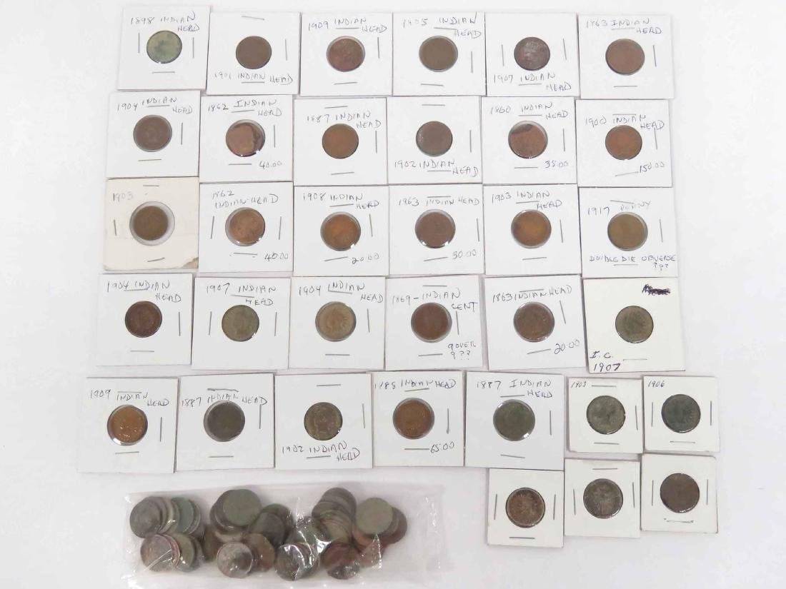 LOT (83) ASSORTED US INDIAN HEAD CENT COINS