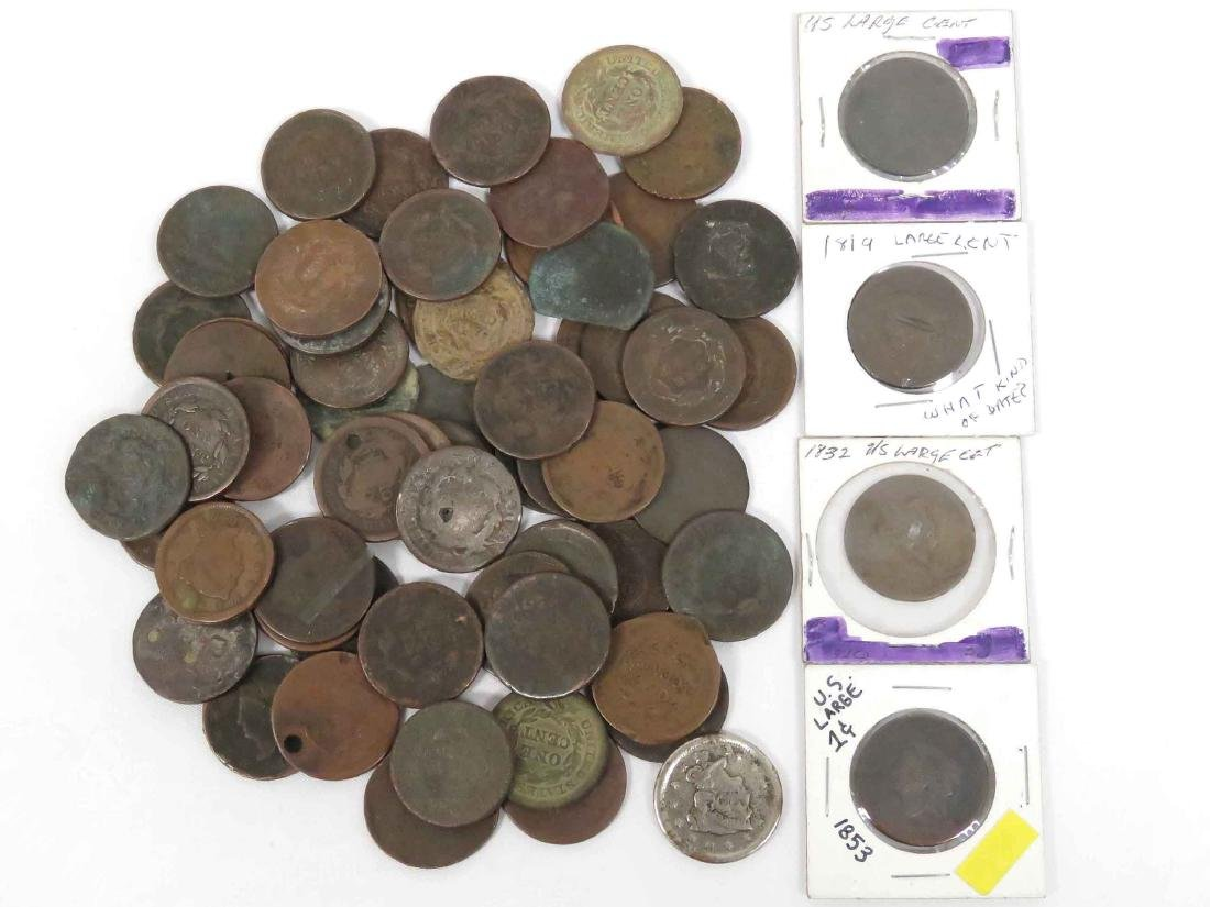 LOT (64) ASSORTED US LARGE CENT COINS INCLUDING