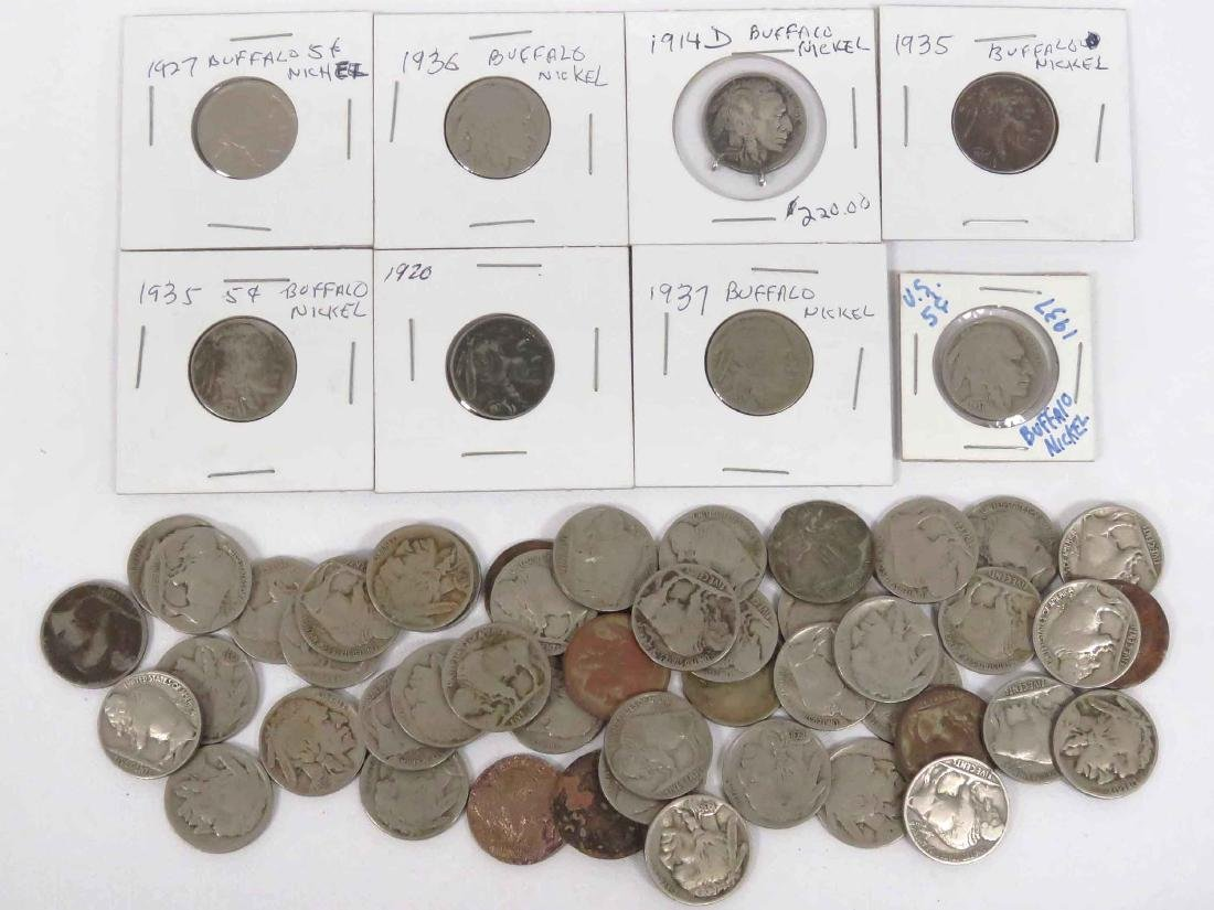 LOT (55) ASSORTED BUFFALO NICKEL COINS INCLUDING 1914D