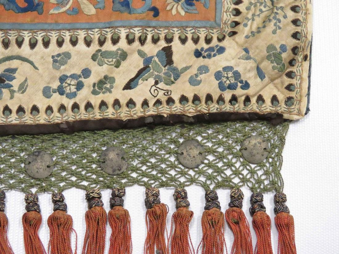 CHINESE SILK EMBROIDERED MANDARIN BAG WITH TASSEL - 3